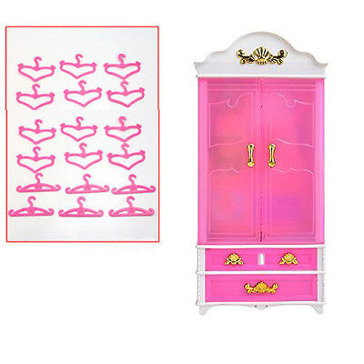 Pink Plastic Furniture Wardrobe 20pPCS Clothes  Hangers   For Barbie Doll