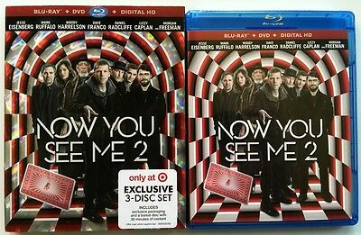 Now You See Me 2 Blu Ray Dvd Target Exclusive 3 Disc + Slipcover Sleeve Freeship
