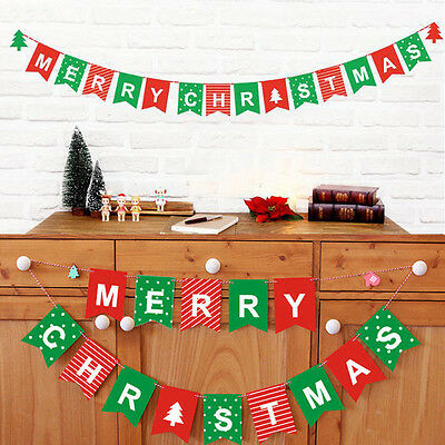 Merry Christmas Bunting Garland Banner Hanging Flags Ornaments Home Party Decor