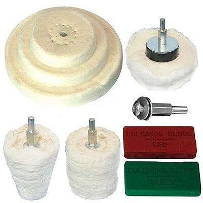 Quality 9pc Polishing Kit Dome Goblet Cylinder Mop Buffing Wheel Compound