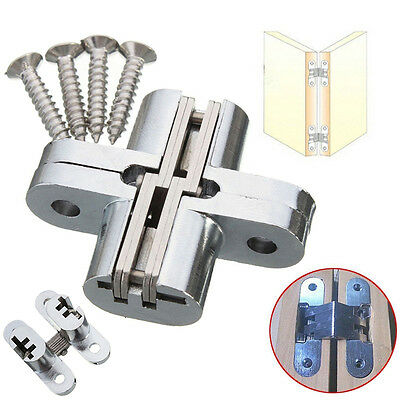 2PCS Hidden Hinge Stainless Steel Invisible Hinges Concealed Wooden Silver New