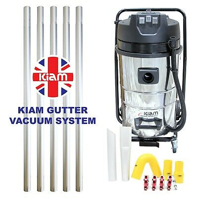 Kiam Gutter Cleaning System KV80-3 Wet & Dry Vacuum Cleaner & 20ft 6m Pole Kit