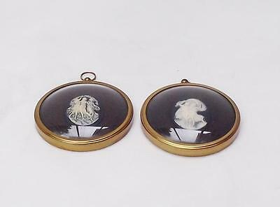 Pair of Vintage Small Wall Plaque Collectable Cameos