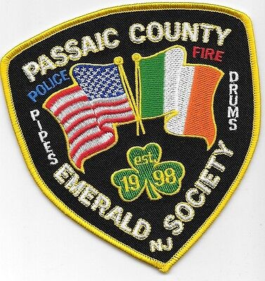 Passaic County Co Nj Police Fire Pipes Drums Emerald Society Cross Flages Flags