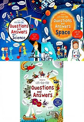 Usborne Lift the Flap Questions and Answer Collection 3 Books Set, Science, spac