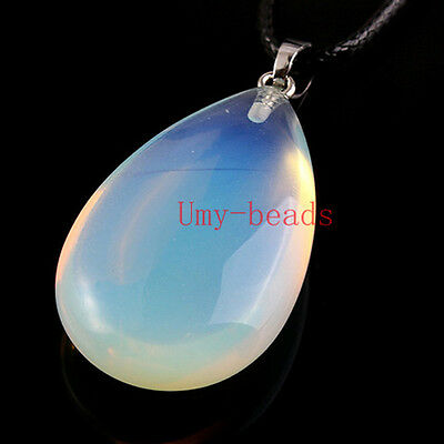 Silver Plated Natural Opalite Opal Quartz Drop Cabochon Gemstone Pendant Jewelry