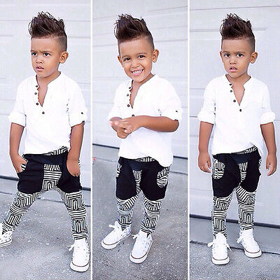 Toddler Kids Baby Boy T-shirt Tops+Leggings Pants 2pcs Casual Outfits Cloth Set