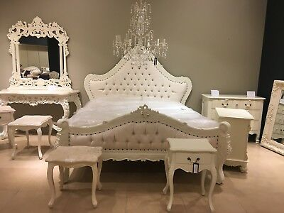 Large Statement Ivory Cream Antique White French Ornate Boudior Double Bed 4ft6""