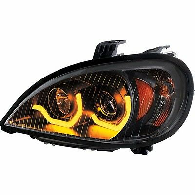 """Blackout"" Freightliner Columbia Projection Headlight w/ Dual LED Light - Driver"