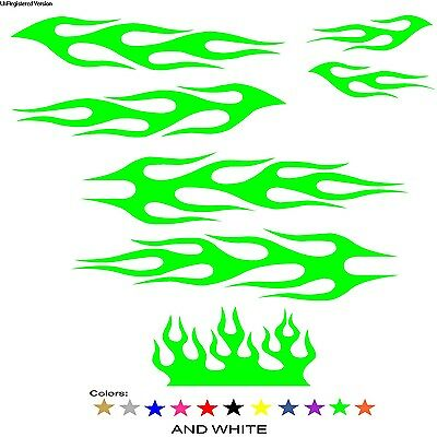 Green Flame Decal Kit Tuner Pro Street Custom Graphics Design Mustang Ford dodge