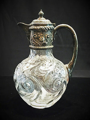 Antique English Silver Mounted Crystal Claret Jug by J.Grinsell & Sons, Ca. 1895