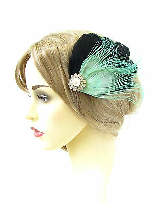 Black Mint Green Silver Peacock Feather Fascinator Vintage Hair Clip 1920s 559