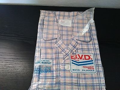 RARE VTG BVD Boys Pajamas Size 12 Plaid 100% Polyester NEW Red White Blue
