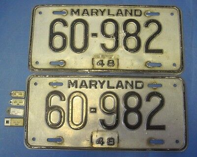 1948 Maryland License Plates matched pair with 48, 49, 50, 51 matching keychain