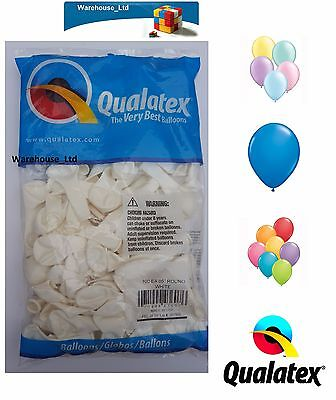 Packs of 100 Qualatex Latex Balloons 5 Inch Pearl & Solid Colours High Quality