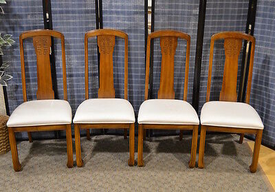 Vintage Set of 4 Asian Style Dining Side Chairs