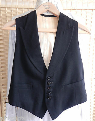 "ANTIQUE WAISTCOAT low front rolled lapels melton 5 buttons 2 pockets 36"" chest"
