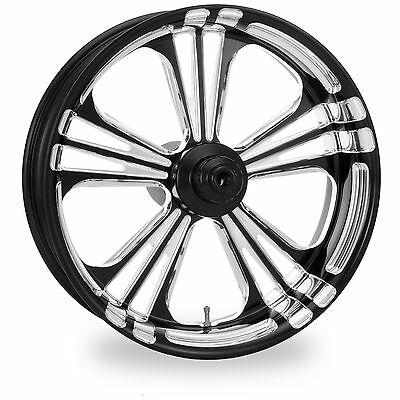 PM Black Platinum 26x3.5 Front Single Disc Side Icon Wheel Harley 08-16 WO ABS