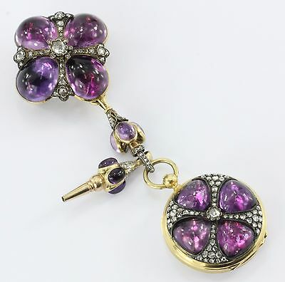 Antique French Gothic Revival 18K Gold, Amethyst & Diamond Pocket Watch