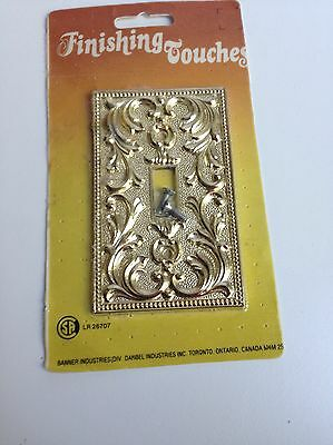 Vintage Retro Ornate Cast Metal Single Toggle Light Switch Plate Cover, Gold