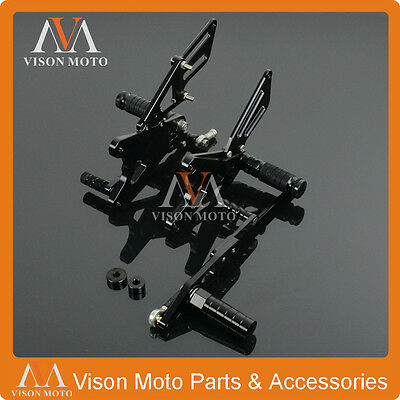 CNC Racing Adjustable Rear Sets Rearsets Foot Pegs For Yamaha YZF R1 09-14 Black