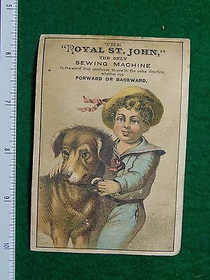 1870s-80s Royal St.John Sewing Machine Song St.John Victorian Trade Card F26