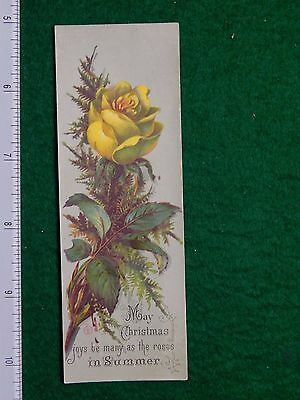 1870s-80s May Christmas Joys Be Many as the Roses Victorian Trade Card F26