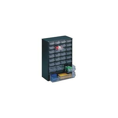 324128 , Storage Cabinet Clear 28 Drawer System Dark Grey , H420xW307xD150mm