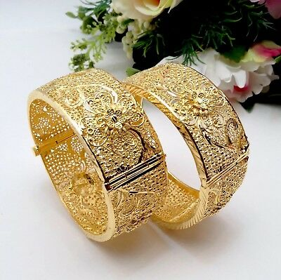 Indian Asian Bridal Jewellery Ethnic Wear 22ct Gold Plated Bangles Size:2.6