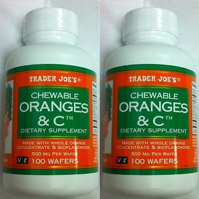 Trader Joe's Chewable Oranges & C Dietary Supplement- 2 Bottles