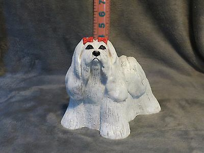 Maltese Plaster Dog Statue Hand Cast And Painted By T.c. Schoch
