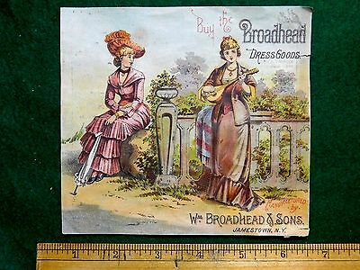 1880s Lovely Image Broadhead Dress Goods, Ladies Musical Victorian Trade Card #S