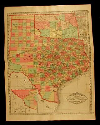Texas antique map c.1890 population given as 1,591,749 Indian Territory lovely