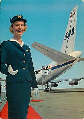 Stewardess & Douglas DC-8C Jetliner ~SAS SCANDINAVIAN AIRLINE~ Scarce Postcard