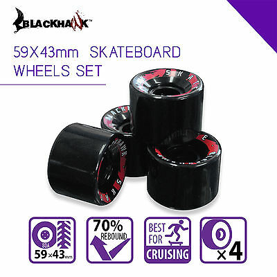 Blackhawk 59x43 mm Longboard Cruiser Skateboard wheels Set of 4 Urethane 80A