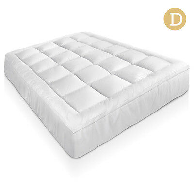 Bamboo Pillowtop Mattress Topper 5cm - Double Bedding Bedroom Bed