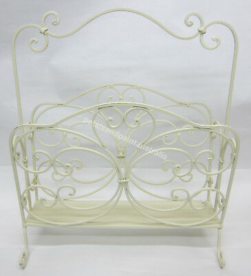 New Cream Metal Magazine Rack Ornate French Provincial for Books & Newspaper