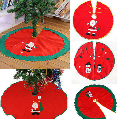 Santa Claus Snowman Christmas Tree Skirt Stands Ornaments Xmas Party Decoration