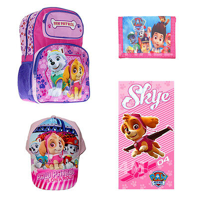 Kids Girls Shoulder School Bag Backpack Gift Paw Patrol Skye Cap Towel Wallet