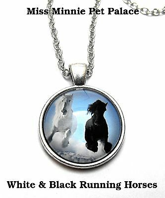 White & Black Galloping Friesian Horses ~ Cabochon Necklace & Pendant