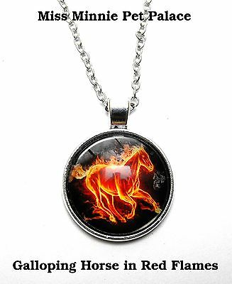 Red Flames Galloping Horse ~ Cabochon Necklace & Pendant