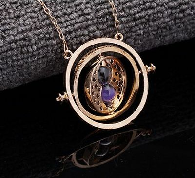 Harry Potter Time Turner Gold Hermione Granger Rotating Spins Hourglass Necklace