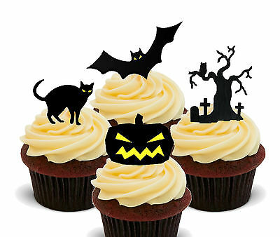 Halloween Scary Silhouettes - Edible Cup Cake Toppers, Standup Fairy Decorations