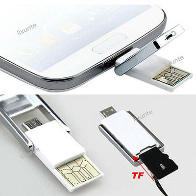 Mini 2-in-1 Micro USB 2.0 OTG Adapter Micro SD TF Card Reader For Android Phone