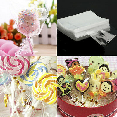 100pcs Small Clear Cellophane Bags Cello Sweets Cookies Lollipops Cake Pops