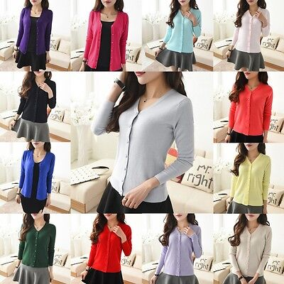 Women Solid Long Sleeve Knit Cardigan Front Button Down Sweater Outwear Blouse
