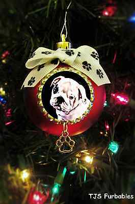 English Bulldog Puppy Painted Christmas Ball Ornament Pet Lovers Gift