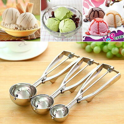 Ice Cream Spoon Stainless Steel Spring Handle Masher Cookie Scoop BE