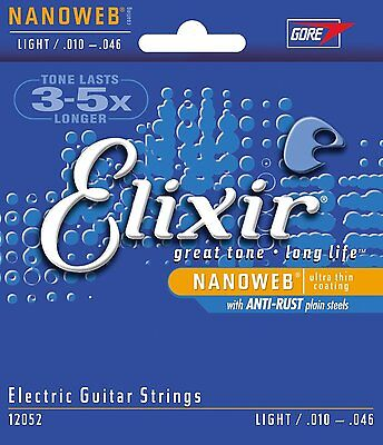 Elixir 12052 Electric Guitar Strings Nanoweb Light 10-46 E-NW-L Anti-Rust