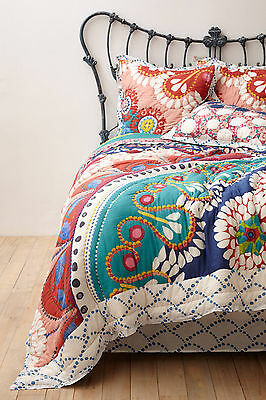 Anthropologie Zocalo Embroidered Queen Reversible Quilt Zacalo Comforter Throw